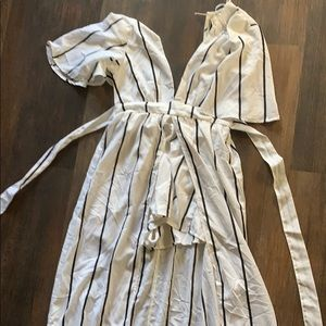 High low romper pinstriped